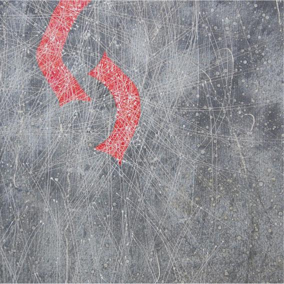 いのちは、1、2、3。   2016年9月 S30号 地塗り済み麻画布にジェッソ、墨、胡粉、アクリル絵具、油絵具。   いのち絵画の技法:振り出し、曜変、短冊切り裏貼り