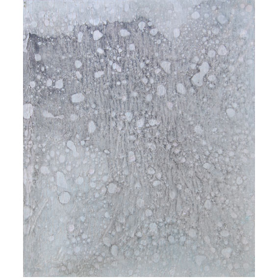 作品名 いのち虹いのち  2015年(2007年12月~) F8号  地塗り済み綿画布(リキテックスベーシックキャンバス[背面留め])にジェッソ、アクリル絵具、墨、油絵具。  いのち絵画の技法:薄雛付け、螺鈿曜変