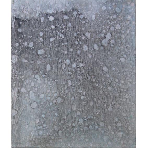 作品名 いのち虹いのち  2015年(2007年12月~) F8号  地塗り済み綿画布(リキテックスベーシックキャンバス[背面留め])にジェッソ、アクリル絵具、墨、油絵具。  いのち絵画の技法:薄雛付け、螺旋曜変